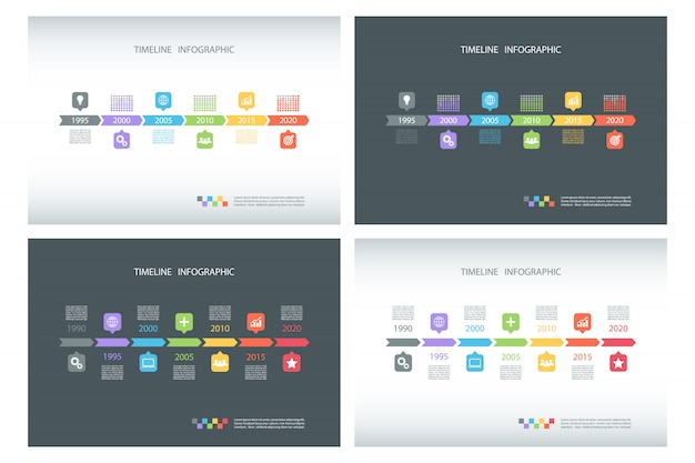 Set of timeline infographic templates.