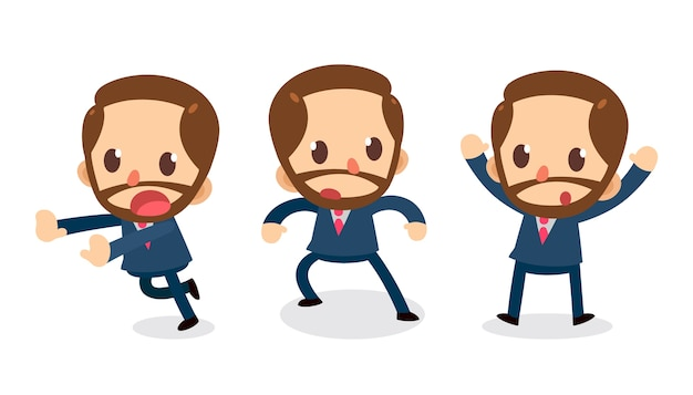 Set of tiny business man character in actions. surrender.