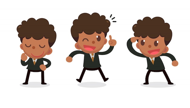 Set of tiny businessman character in actions. get idea.