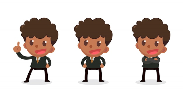 Set of tiny businessman character in actions. speak and talk.
