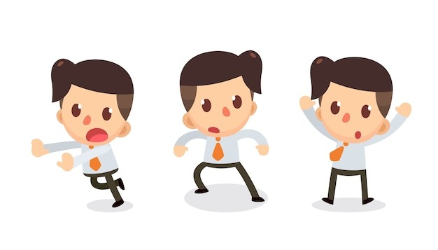 Set of tiny businessman character in actions.