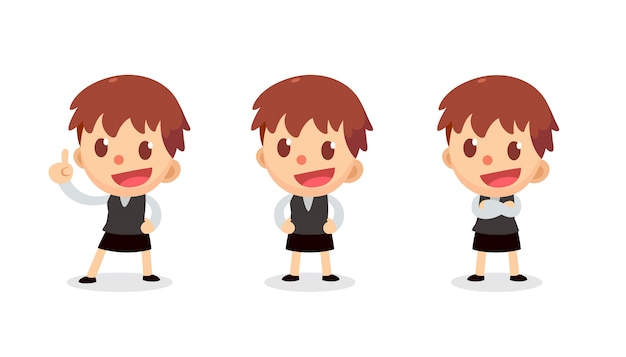 Set of tiny businesswoman character in actions. speak and talk.