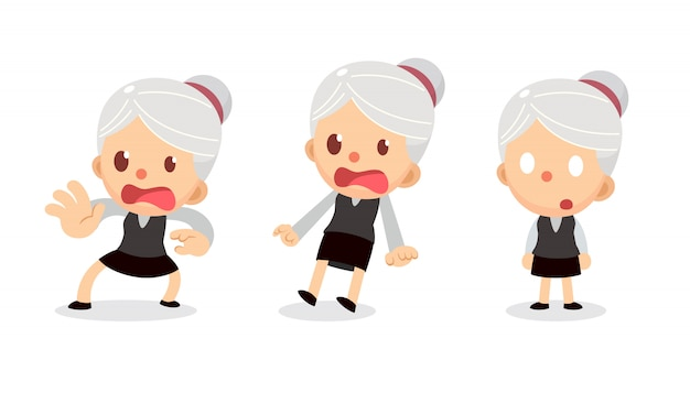 Set of tiny businesswoman character in actions. a woman with gray hair. scared and shocked.