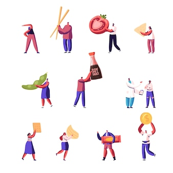 Set of tiny male and female characters with huge wooden chopsticks, tomato and snack, green pea pod, soy sauce and coin