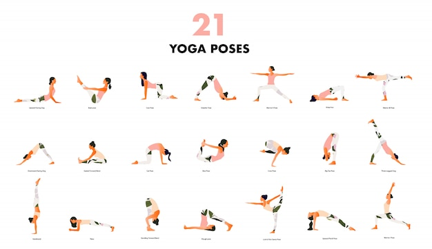 Set of tiny women performing yoga poses. women practicing asanas and pelvic floor exercises. flat cartoon isolated on white background.