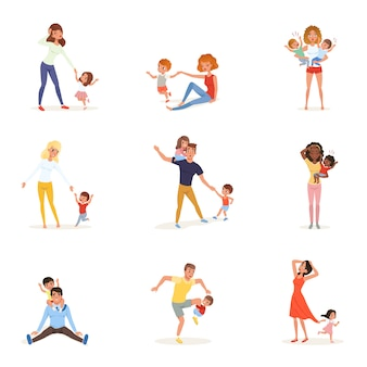 Set of tired parents with children. exhausted moms and dads, playful boys and girls. crazy day. kids want to play. reality of parenthood. family concept.