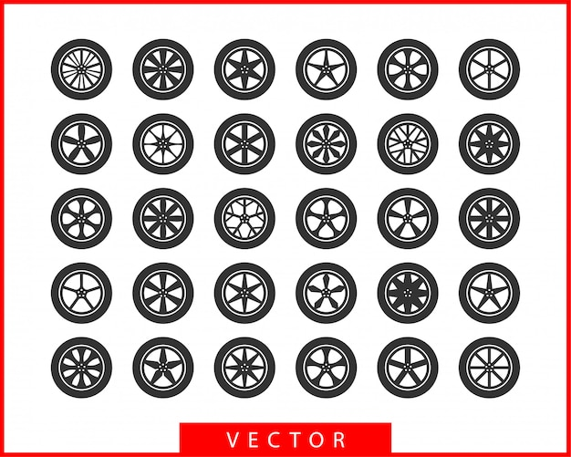 Set tires and wheels. disc wheel car icon .