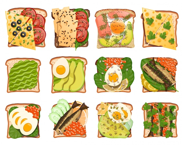 Set of toasted snacks
