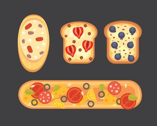 Установите тосты и завтрак сэндвич. гренки с джемом, яйцом, сыром, черникой, арахисовым маслом, салями, рыбой. плоский рисунок.