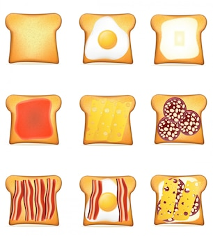 Set of toasts recipes vector illustration