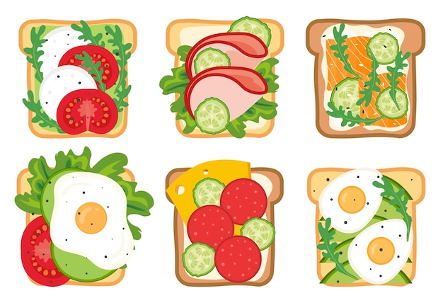 Set of toasts and sandwiches with different healthy ingredients