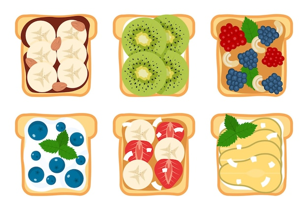 Set of toasts and sandwiches with different sweet ingredients