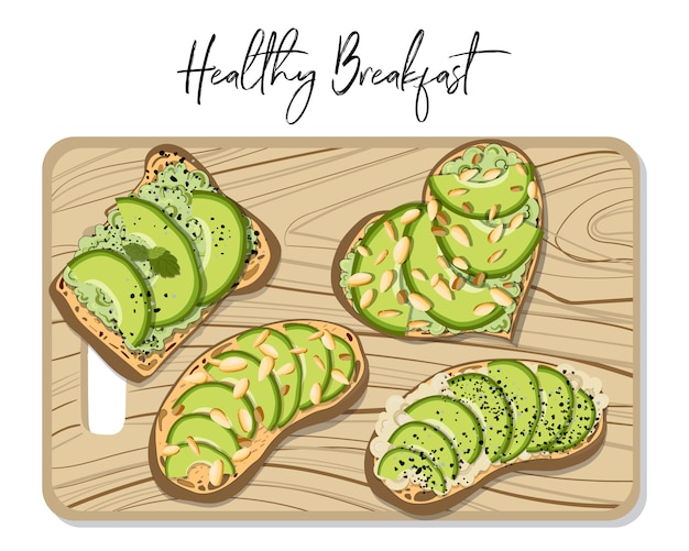 Set of toasts with avocado, on wooden board