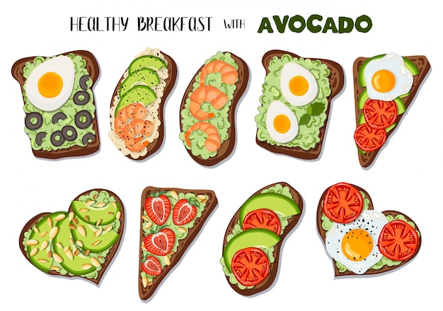 Set of  toasts with avocado