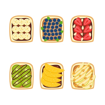 Set of toasts with berries and fruits for breakfast on white background, vector illustration