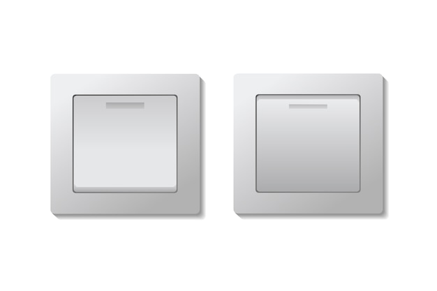 Set of toggle light switches on and off.