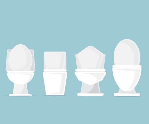 Set of toilet bowls in bathroom vector illustration