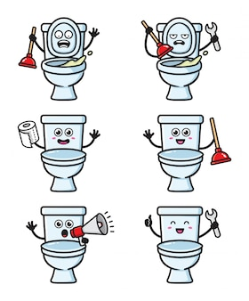 Set of toilet character