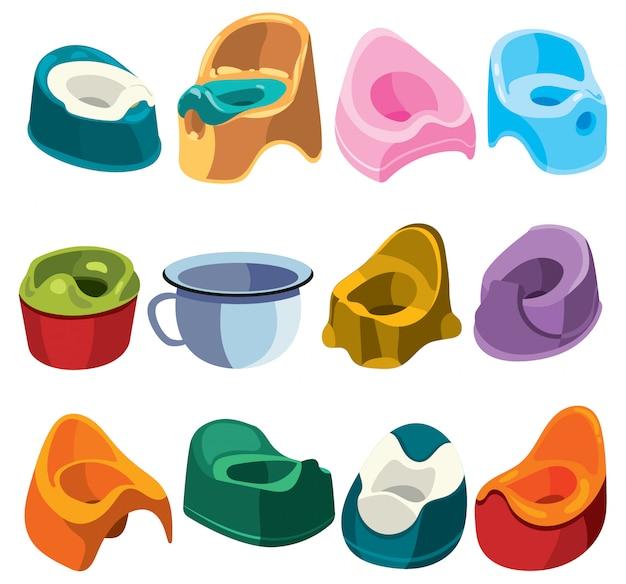Set of toilets for children. collection of toilet pots for kids.   illustration.