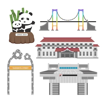 Set of tokyo sightseeing spots