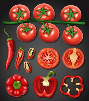 A set of tomato and chilli