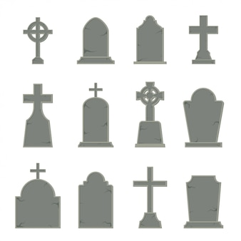 Set of tombstone shape on white background,