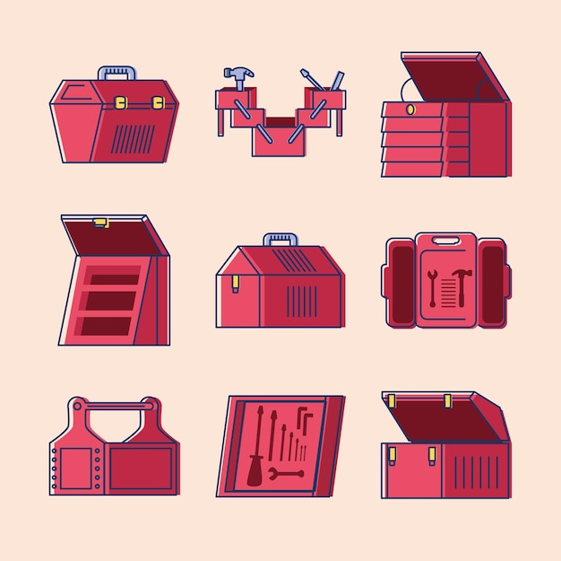 Set of tool boxes with equipment