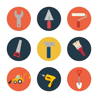 Set tool construction icon design