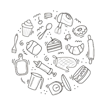 A set of tools for baking and cooking, a mixer, a cake, a spoon, a cupcake, a scale. vector illustration in the doodle style. a sketch drawn by hand on a white background.