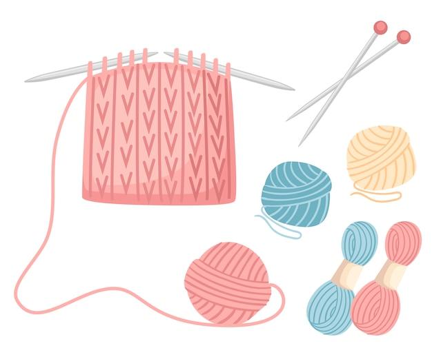 編み針を縫うためのツールを設定します。糸のボール、ウールのカラフルなイラスト。編みプロセス。白い背景の上の図
