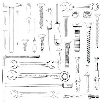 Set of tools, hardware. different fastener isolated on white. hand drawn of a sketch style.
