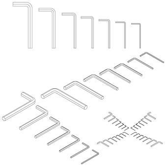 흰색 배경에 도구 아이소메트릭 설정