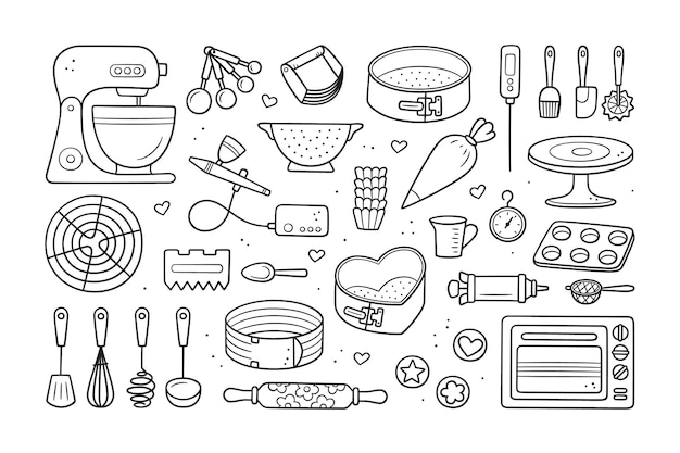 A set of tools for making cakes, cookies and pastries