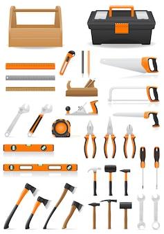 Set tools realistic vector illustration