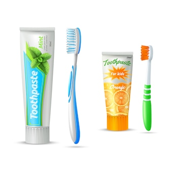 Set of toothpaste tubes and toothbrushs for kids and adults