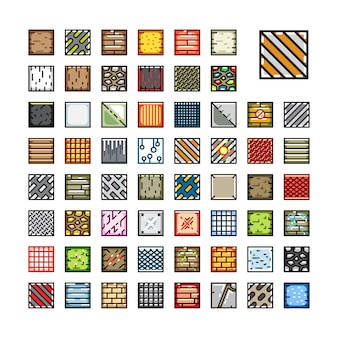 Set of top-down tile sets for video game