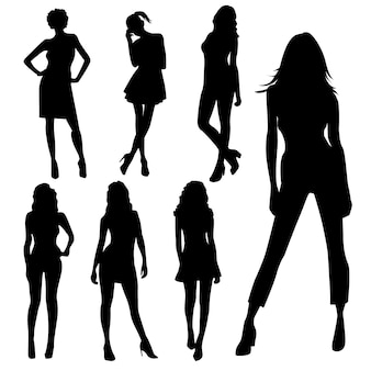 Set of top model female silhouettes