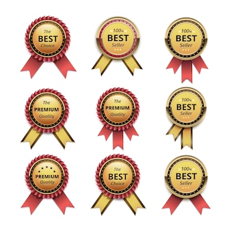 Set of top quality guarantee golden labels with red scarlet ribbons close up isolated on white background