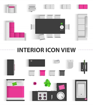 Set top view for interior icon design. isolated illustration. flat interior top view icon
