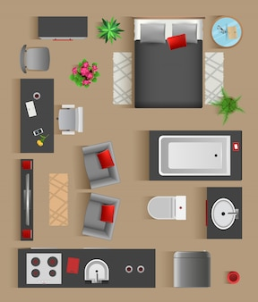 Set top view for interior icon design.