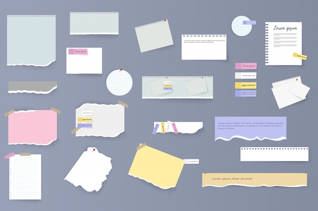 Set of torn horizontal white and colorful paper strips, notes and notebook on a gray background. torn sheets of notebook, multi colored sheets and pieces of torn paper. illustration,  .