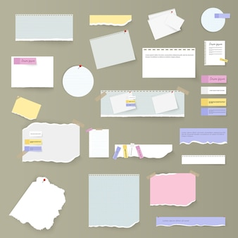 Set of torn horizontal white and colorful paper strips, notes and notebook on a gray background. torn sheets of notebook, multi colored sheets and pieces of torn paper.