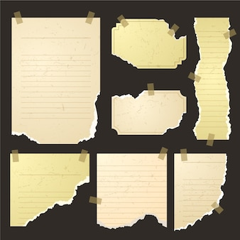 Set of torn paper in different shapes with tape