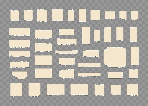 Set of torn ripped paper sheets with sticker ripped notebook paper in different shapes