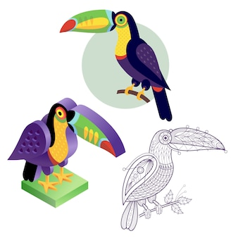 Set toucan image in different styles.