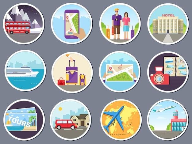세계 개념 인포 그래픽의 빠른 여행으로 관광 설정