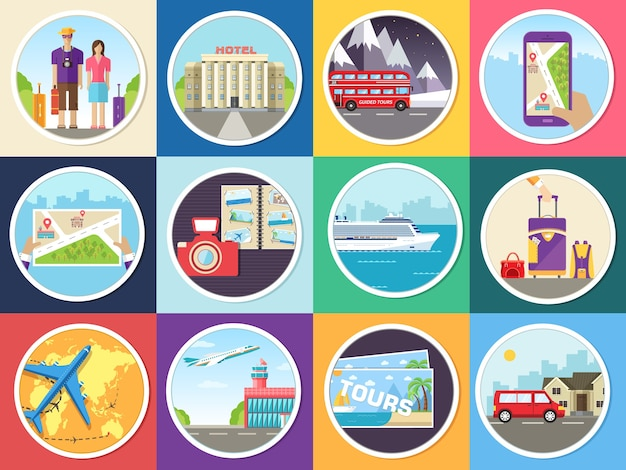 Set tourism with fast travel of the world concepts infographic