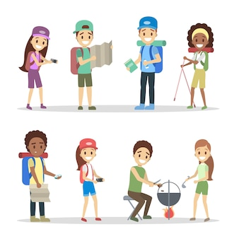 Set of tourist characters. vaction or travel concept. young travelers with different equipment for camping: backpack, camera and map.    illustration