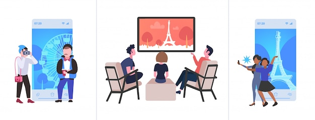 Set tourists taking selfie photo watching famous landmarks on tv different travel concepts collection horizontal  full length