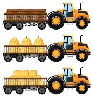 Set di carri attrezzi che trasportano fieno e boschi isolati